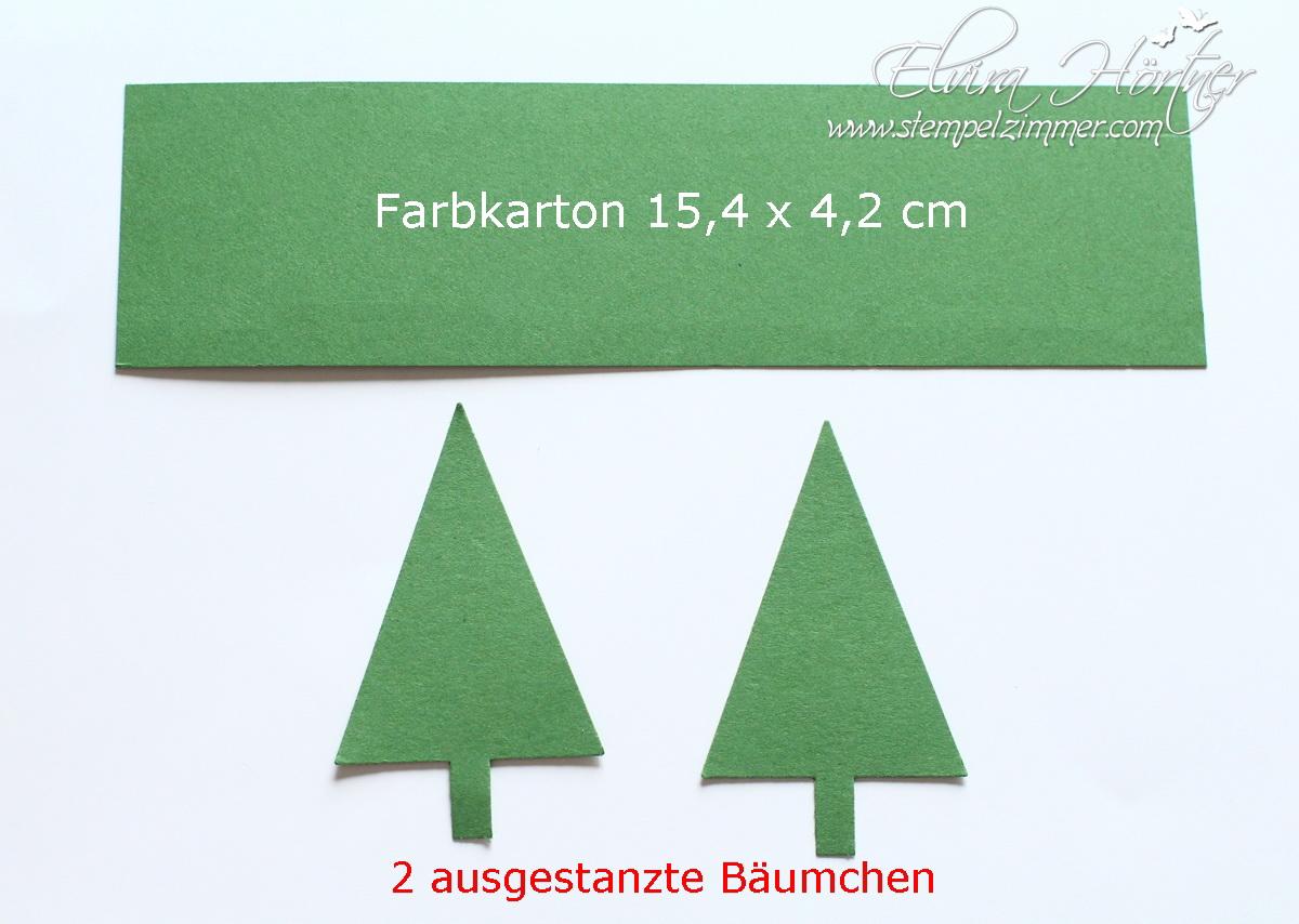 Tannenbaum ausgestanzt aus Farbkarton Gartengrün von Stampin Up
