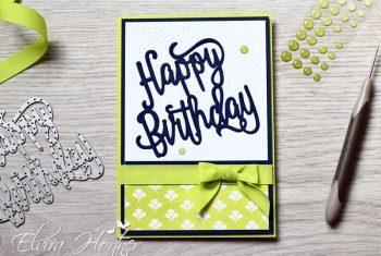Happy Birthday Thinlits - Limette und Marineblau