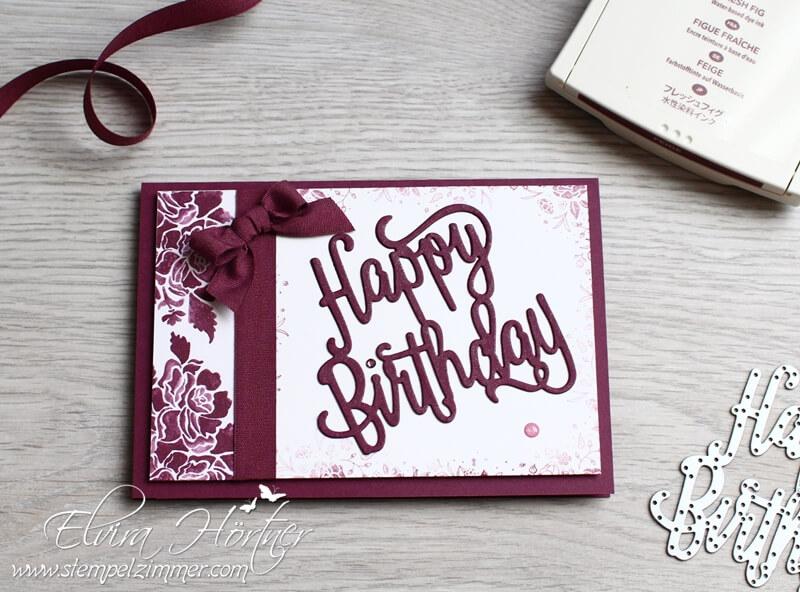 Happy Birthday Thinlits - Stampin Up -Karte