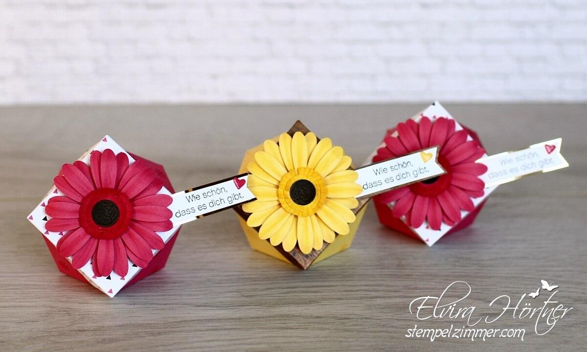 Gänseblümchen oder Gerbera-Diamantbox mit der Stanze Daisy von Stampin Up-Stempelzimmer-