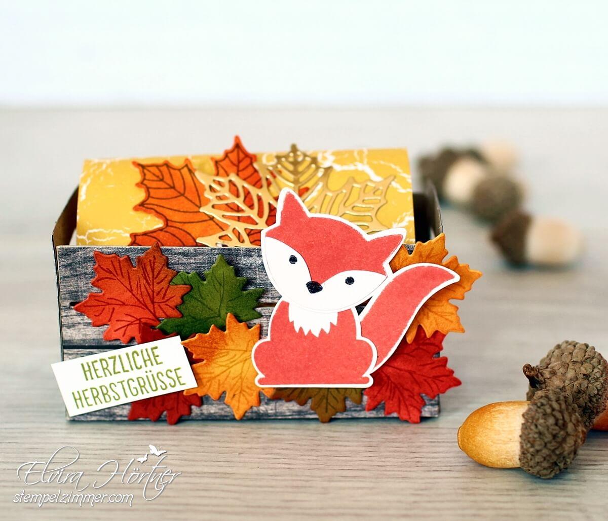 Herbstliche Holzkiste mit Fuchs - Stampin Up - Stempelzimmer-Blog