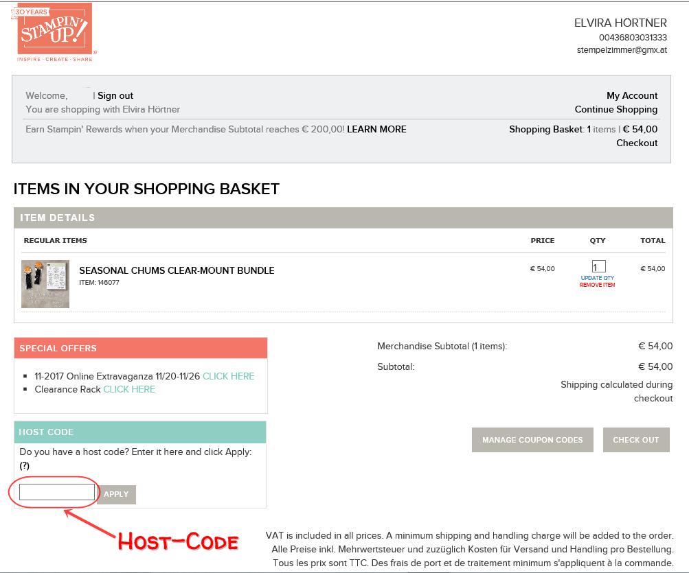 Online-Shop Host Code eingeben