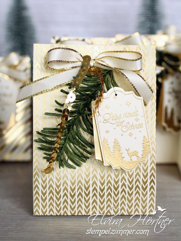 Goldene Weihnachten-Geschenktüte-Stampin Up-Giftbag Punchboard-Stempelzimmer-Elvira Hörtner