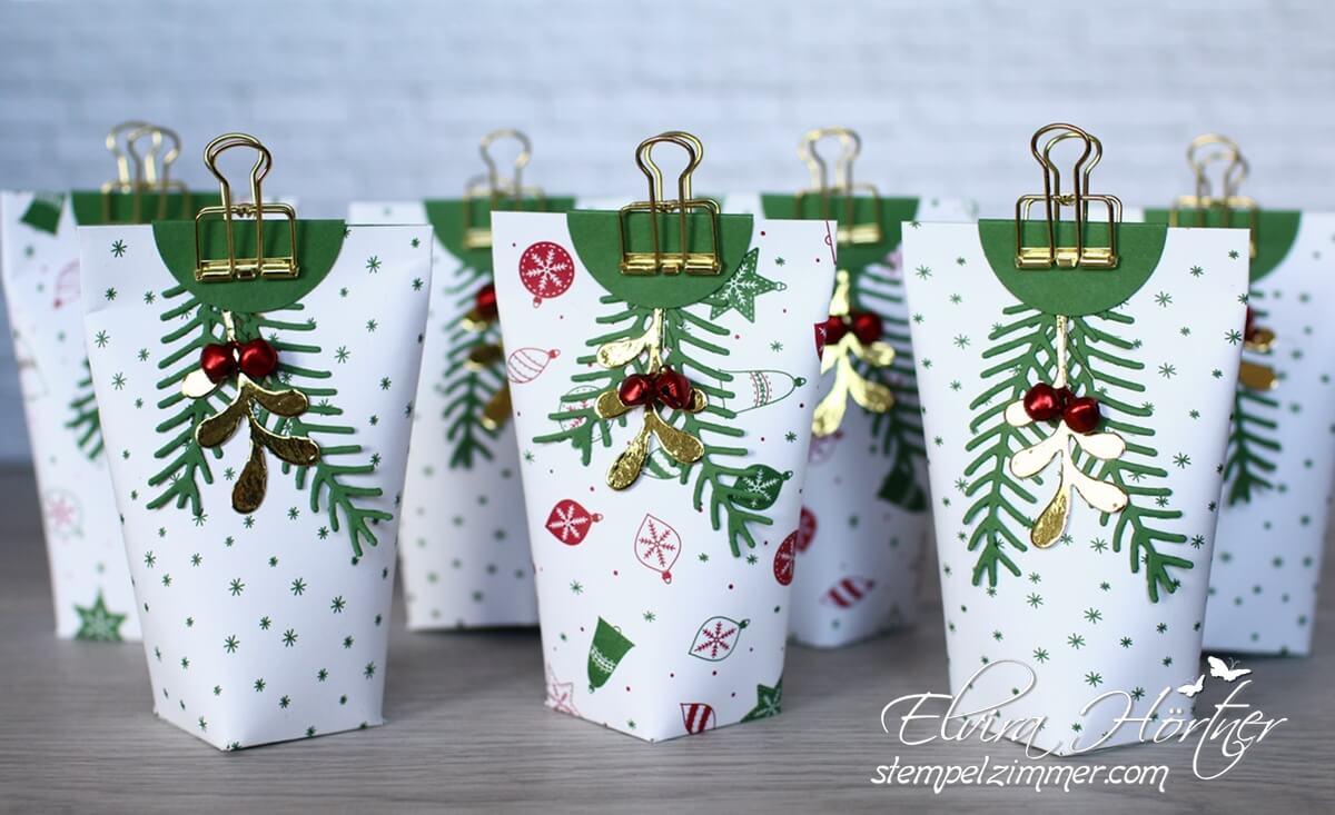 Goodies voller Vorfreude - Stampin Up - Tannen und Zapfen - Weihnachtsverpackung- Box in a Bag