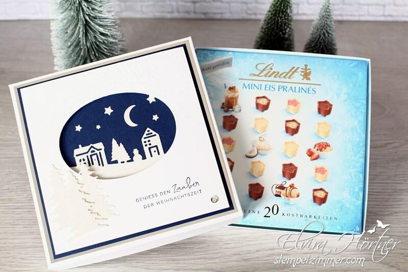Schokoverpackung mit dem Winterstädtchen-Stampin Up-Weihnachten daheim-Elvira Hörtner