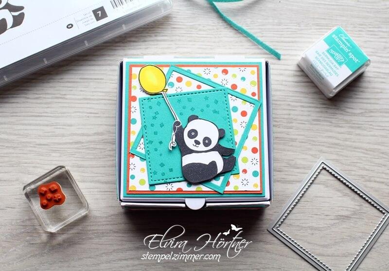 Panda-SAB-Stampin Up-Pizza Box-Designerpapier-Einfach-spritzig-Verpackung-Geschenk-Goodie-Stempelzimmer