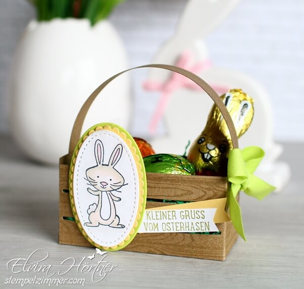 Holzkiste von Stampin Up-Osterhase-we must celebrate-Limette-Stampin Blends-Ostern