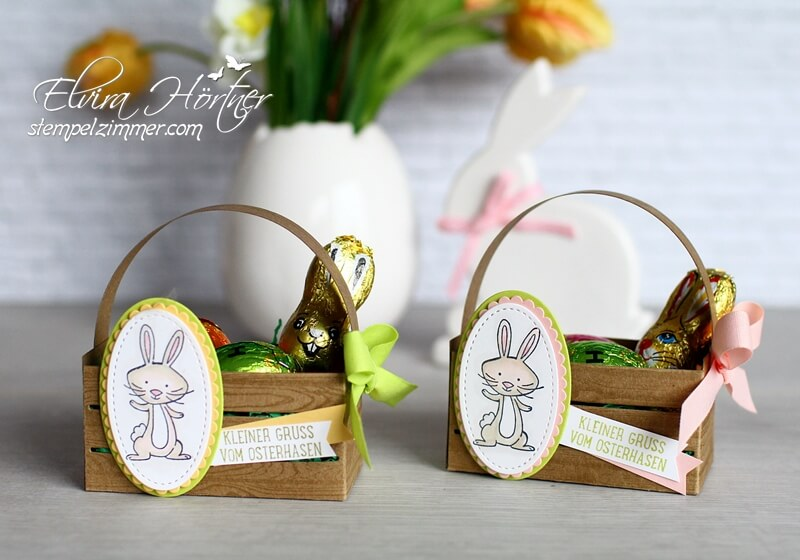 Holzkiste von Stampin Up-Osterhase-we must celebrate-145898-Limette-Puderrosa-Safrangelb-Stampin Blends-Ostern