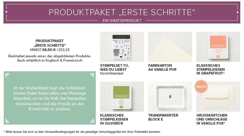 Produktpaket Erste Schritte - Stampin Up - Stempelzimmer - Blog