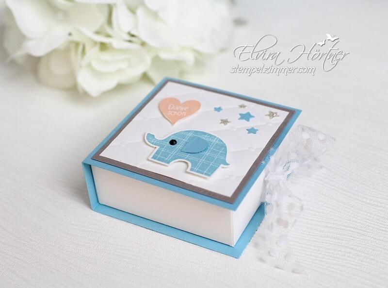 Elefantatstisch-süße Verpackung für Haselnuss-Schnitte-Prägefolder Steppmuster-Elefant-Baby-Stampin Up