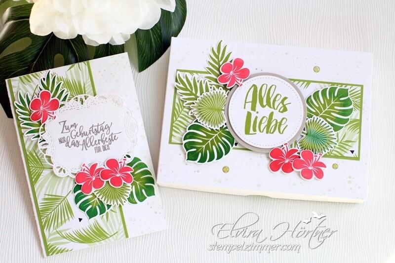 Geburtstagskarte und Verpackung mit dem Set Tropenflair-Tropical Chic von Stampin up