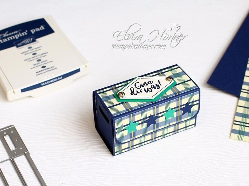 Holzkiste mit Geld-Kreativkiste-Stampin Up-Verpackung für Geld