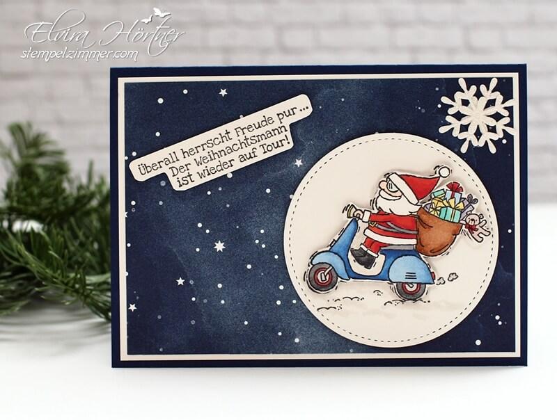 Weihnachtsmann auf Tour-Santa on Tour-Heiter bis weihnachtlich-Santa auf Moped-Stampin Up! -Weihnachten-Stempelzimmer