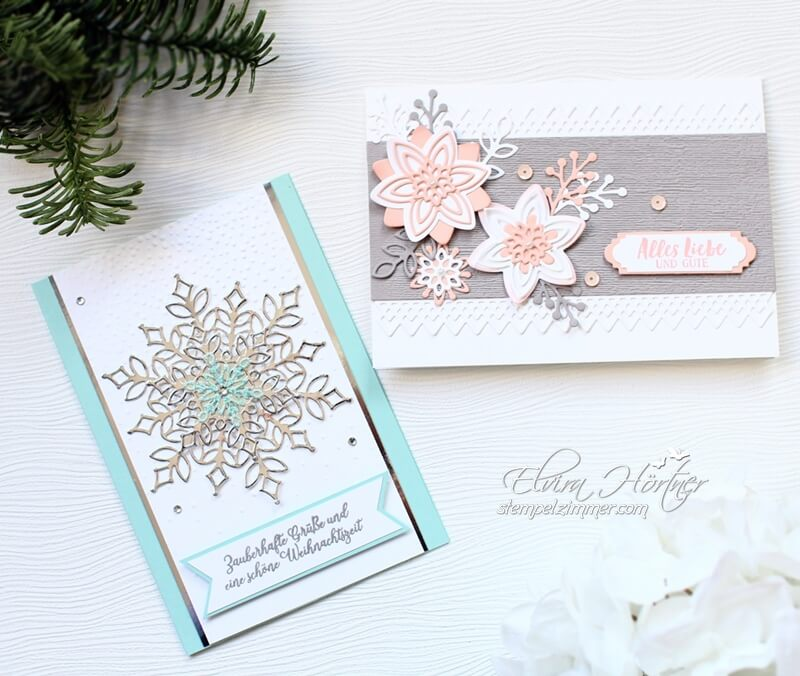 Wintermärchen und Frühlingsgefühle-zwei Karten-ein Set-Flockengestöber-Stampin Up-Aktion November 2018-Stempelzimmer