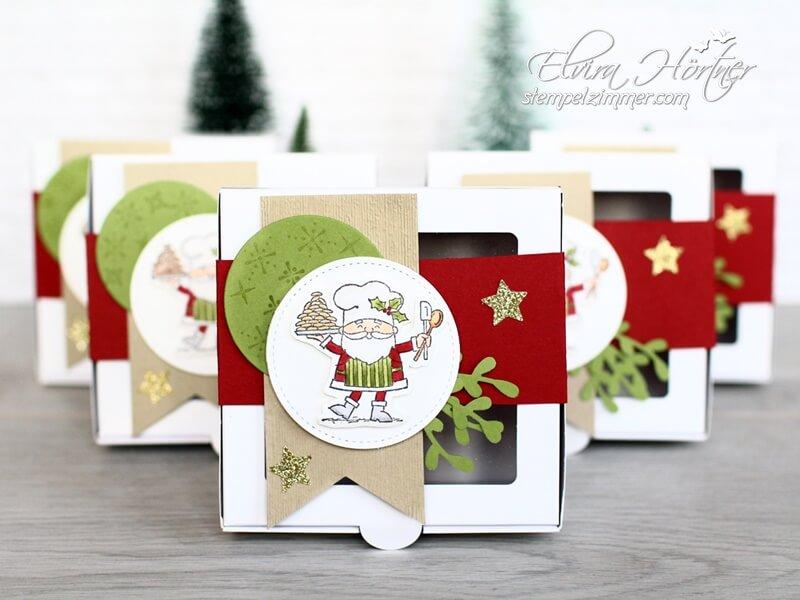 Donutschachtel fuer Weihnachtskekse-Lustiger Koch-Bäcker-Heiter bis Weihnachtlich-Stampin Up-Stempelzimmer