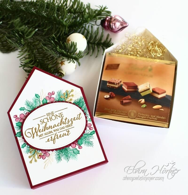 Besinnlicher Advent-Hausverpackung fuer Schicht-Nougat von Lindt-Stampin Up-Elviras Stempelzimmer