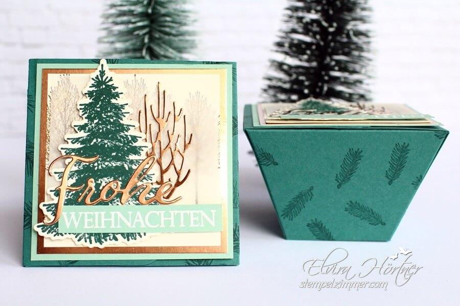 Weihnachtliche Trapezbox in Meeresgruen mit dem Set Winterwald und Weihnachtliche Vielfalt von Stampin Up - Elviras Stempelzimmer
