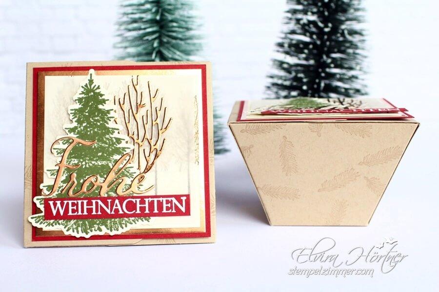 Weihnachtliche Trapezbox in Savanne mit Chili Stampin Up-Elviras Stempelzimmer