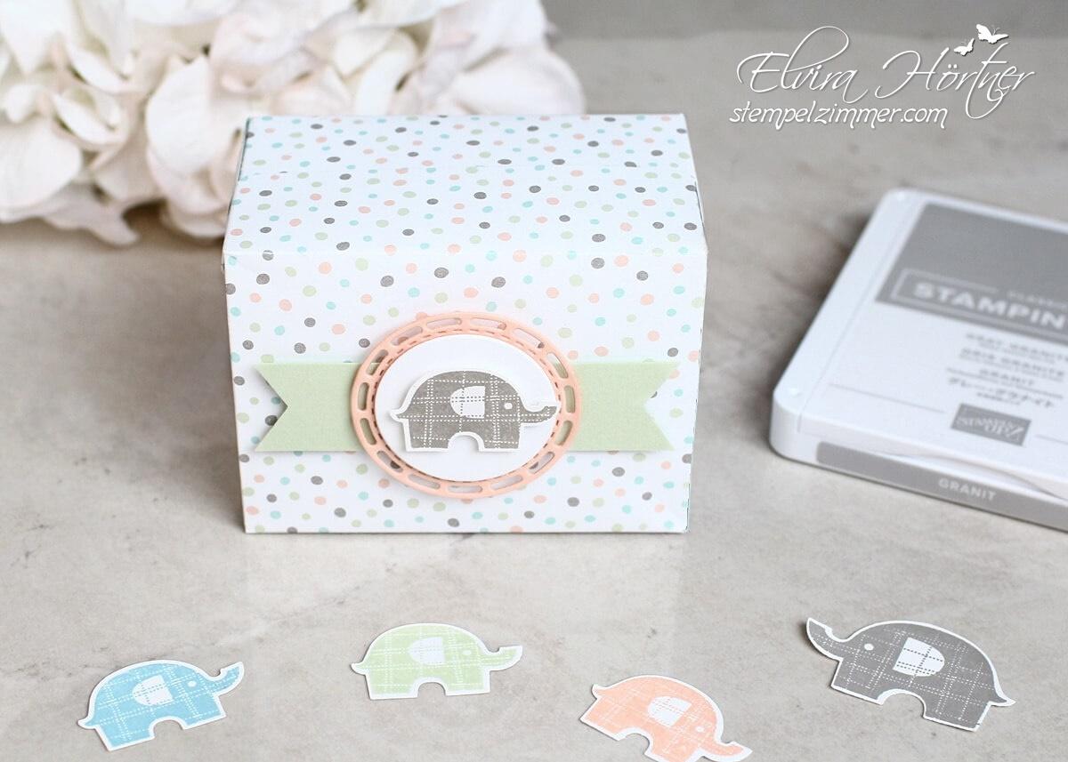 Perfekte Päckchen-große Babybox-Stampin Up-Elefantastisch-Verpackung-Stampin Up-Stempelzimmer