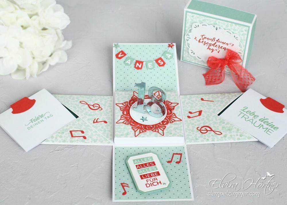 Explosionsbox zum 18. Geburtstag-Musik-Stampin Up-Memory Box-Spellbinders