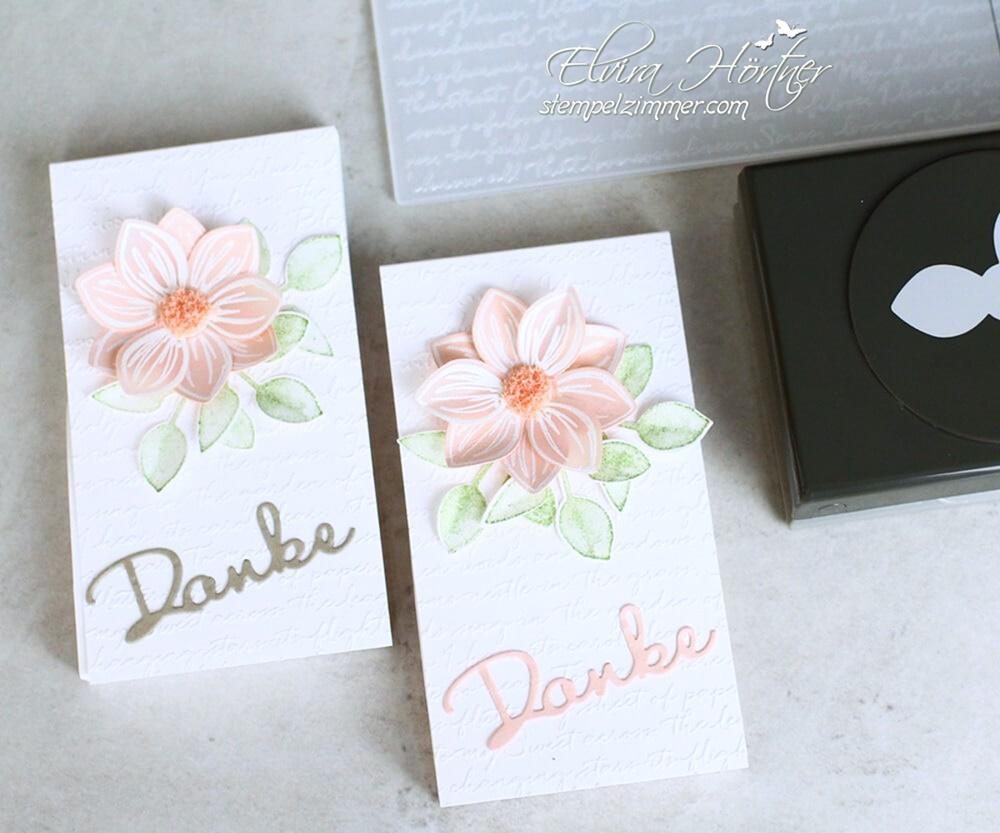 Florale Freude-Schoen geschrieben-Schreibschrift Praegeform-Merci-Goodie-Schokolift-Stampin Up