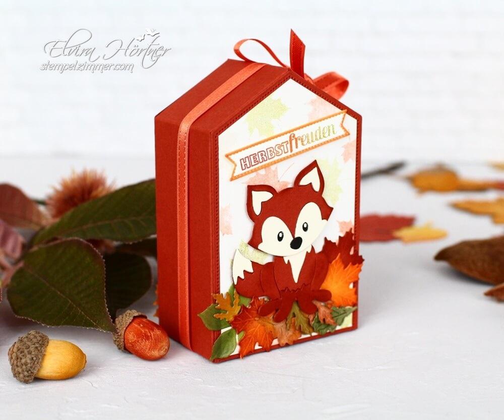 Herbstbeginn-Verpackung mit Herbstlaub