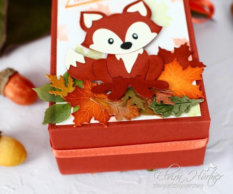 Fuchs im Herbstlaub - Verpackung selbstgemacht
