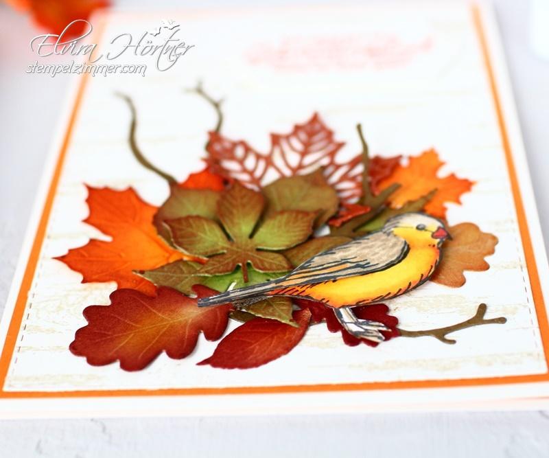 Herbstliche Geburtstagskarte - Stampin Up! - Frei wie ein Vogel - Jahr voller Farben