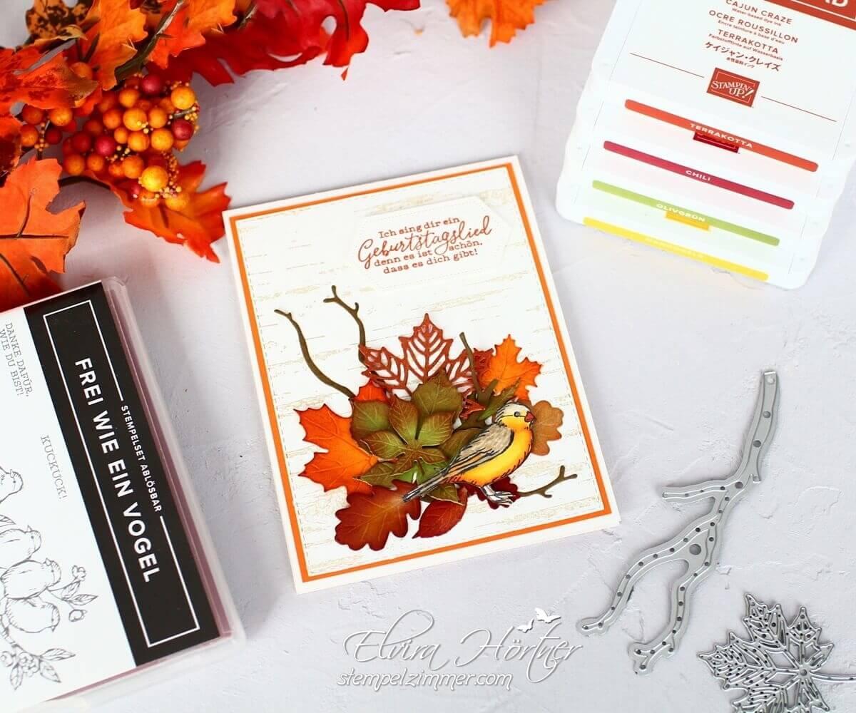 Herbstliche Geburtstagskarte mit Produkten von Stampin' Up! - Frei wie ein Vogel - Birch - Jahr voller Farben