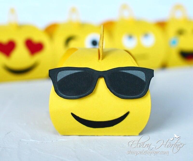 Emoji mit Brille - gestaltet mit der Mini Zierschachtel von Stampin' Up!