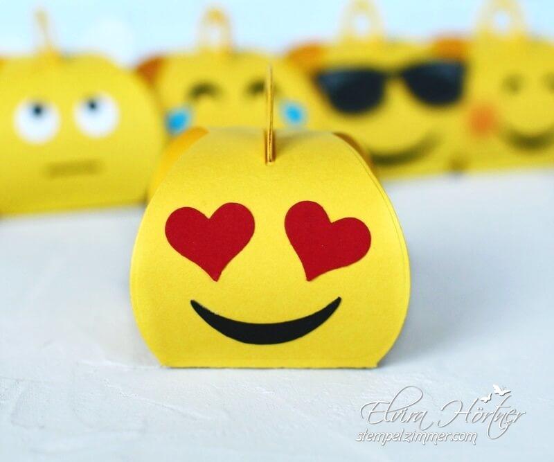Emoji mit Herzaugen-Mini Zierschachtel von Stampin Up-Goodies-Kindergeburstag-Mini Curvy Keepsakebox
