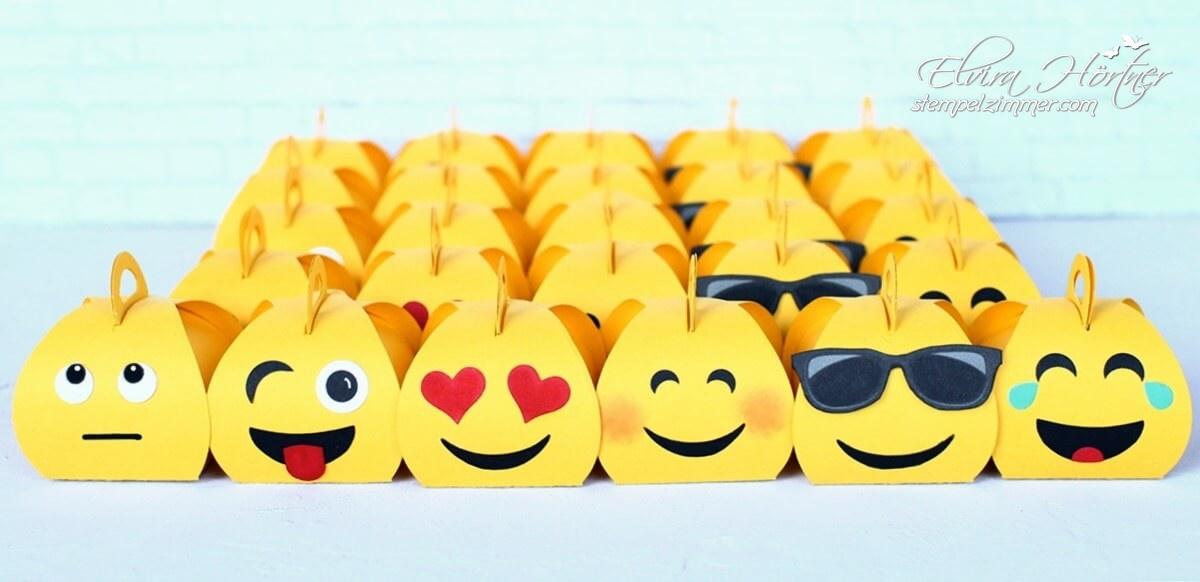 Mini Zierschachtel von Stampin' Up! als Emoji-Kindergeburtstag-Goodies