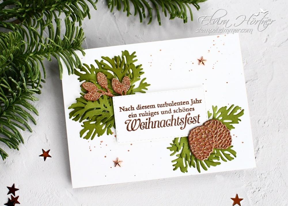 Weihnachtskarte mit den Zauberhaften Zweigen von Stampin' Up!