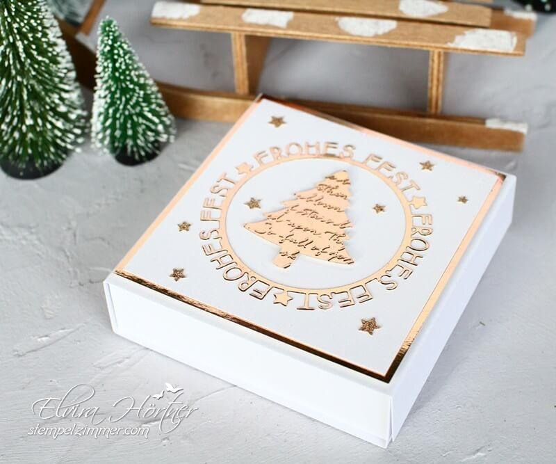Geschenkbox für Pralinen-Tannen und Karos, Frohes Fest - Charlie und Paulchen-Stampin Up