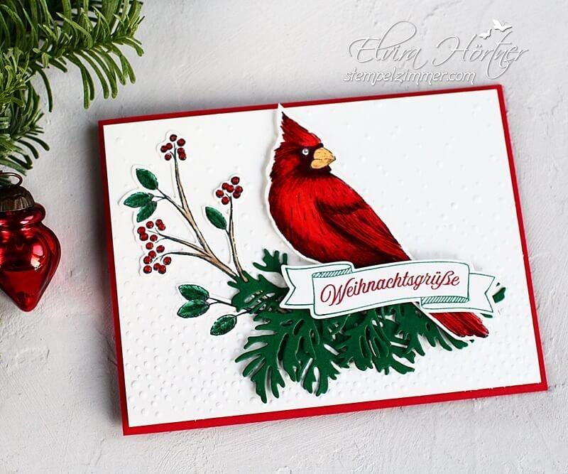 Weihnachtsgruesse mit dem roten Kardinal-Stampin Up