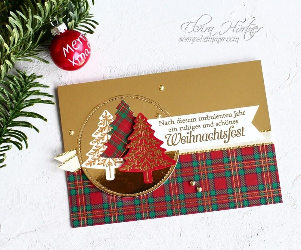Tannen und Karos,Weihnachskarte in Gold-Stampin' Up!