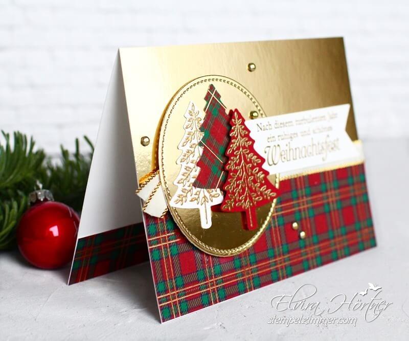 Tannen und Karos-Weihnachtskarte-Stampin Up-Stempelzimmer