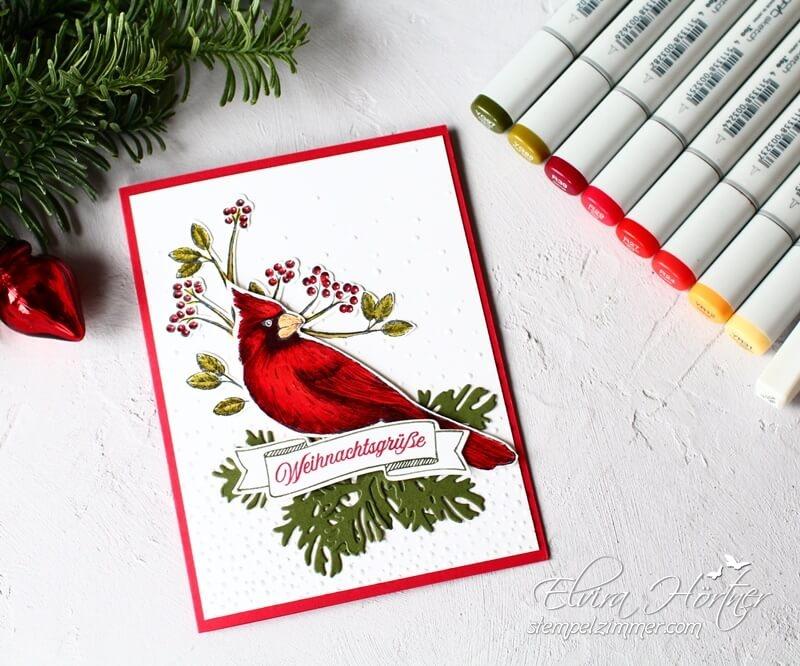 Kardinal-Weihnachtskarte-Weihnachtsgrüße-Stampin Up