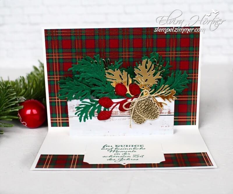 Friedvolle Zweige-Weihnachtskarte mit Zweigen und Zapfen-Stampin Up