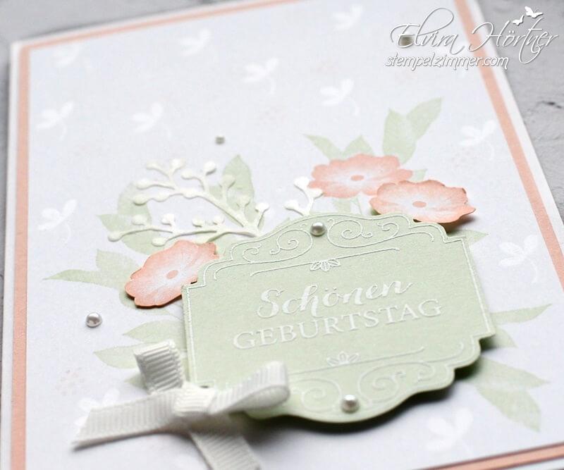 Geburtstagskarte in Lindgrün und Blütenrosa-Stampin Up-Mit Liebe angehängt-