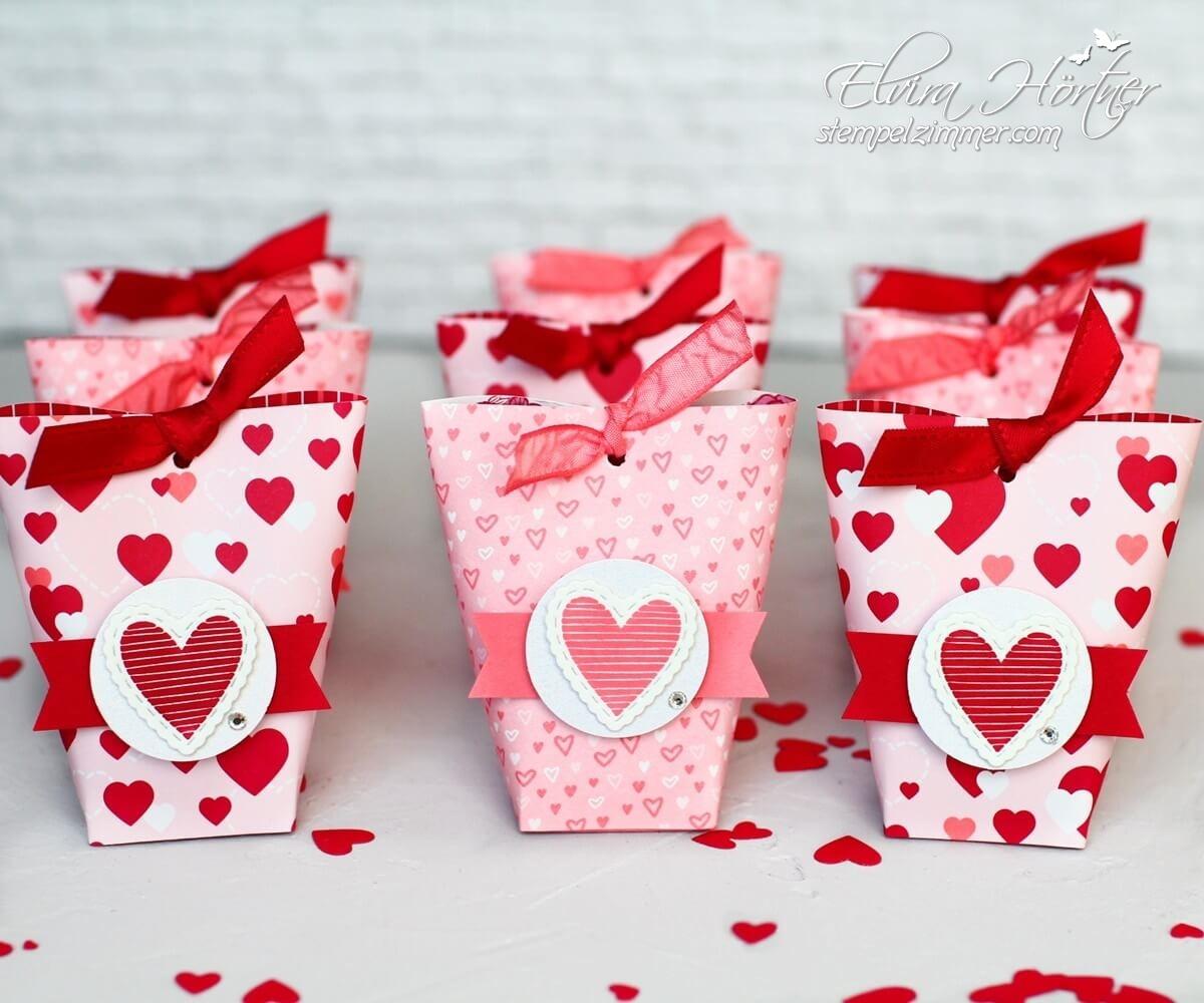 Box in a Bag- zum Valentinstag-schnelle Verpackung-Stampin Up - Herzlich bestickt