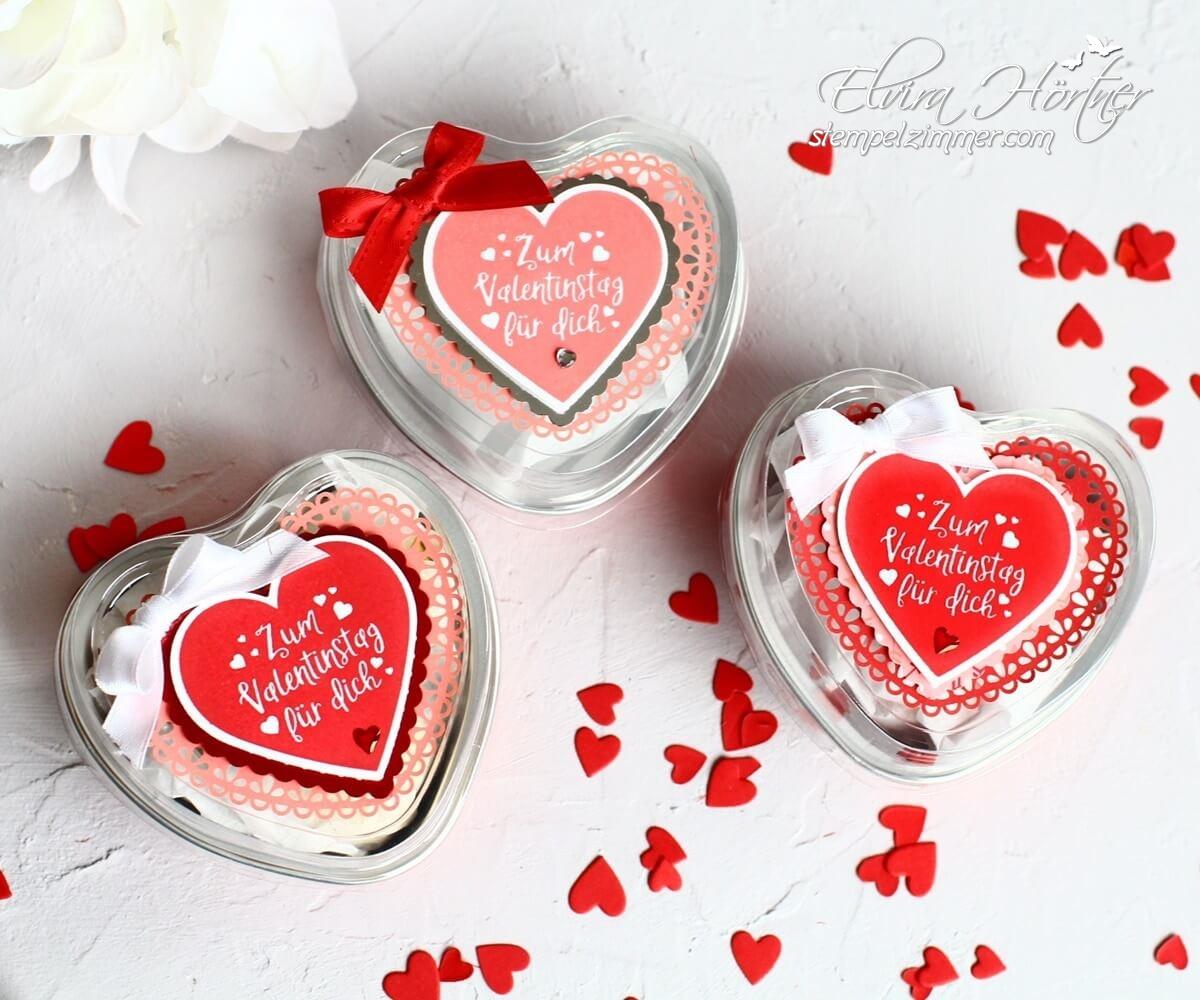 Metallic-Dosen in Herzform zum Valentinstag von Stampin' Up! - Dekoriert mit dem Stempelset Herzlich