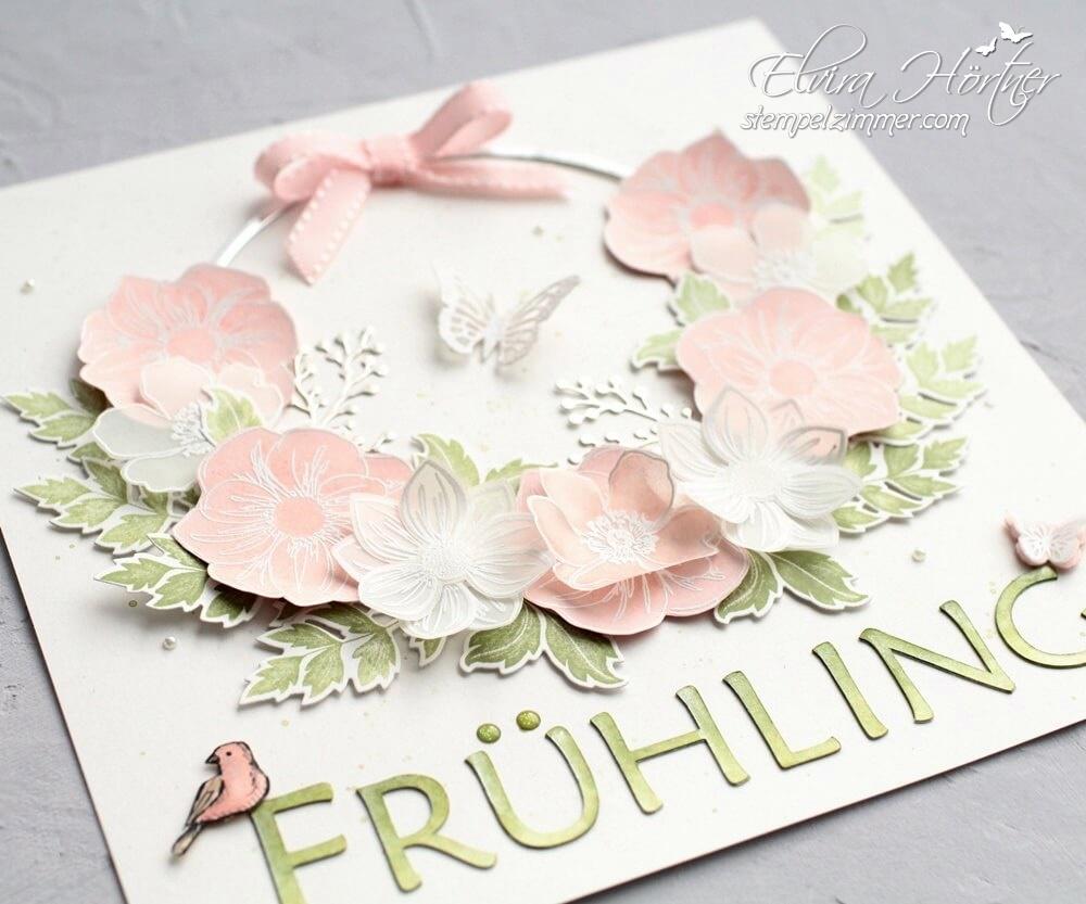 Homedeko-Ribba Bilderrahmen zum Thema Frühling mit Produkten von Stampin' Up!-Florale Freude-Fabolous Florets-Everything is rosy-Cameo4