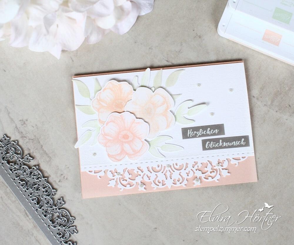 Geburtstagskarte mit Feiner Spitze und Blumen aus dem Set Painted Seasons