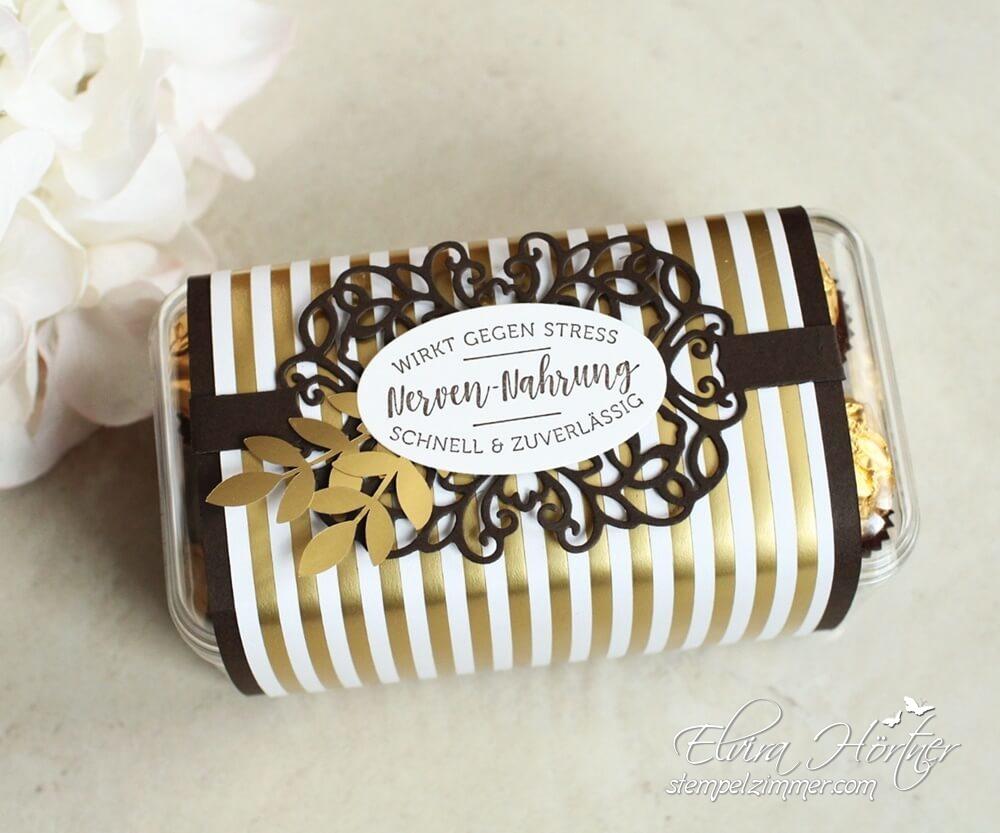 Wirkt gegen Stress - Schokolade als Nervennahrung - Verpackung mit Produkten von Stampin' Up!