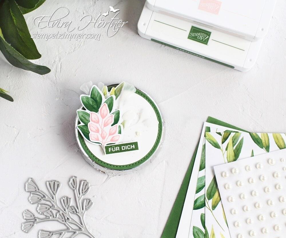 Schokokeks als Goodie-dekoriert mit Blättern aus dem Produktpaket Ewiges Grün von Stampin' Up!