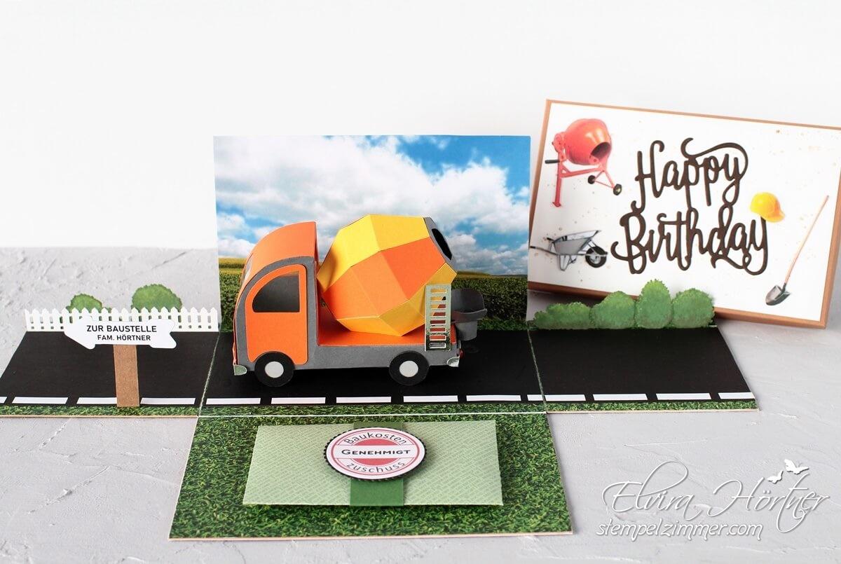 Explosionsbox zum Geburtstag für ein Bauvorhaben-Hausbau-Betonmischer-Lieferbeton-Cameo