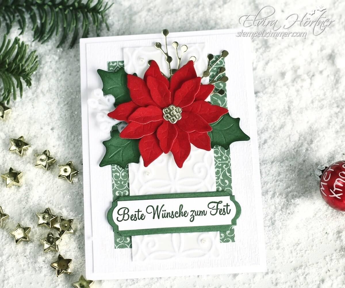Die letzten Poinsettias - Weihnachtskarte mit Produkten von Stampin' Up!
