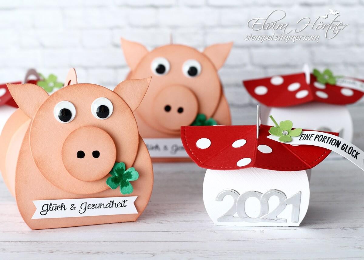 Glückspilz und Gluecksschweinchen zum Jahreswechsel