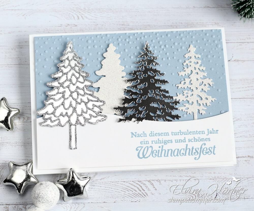 Weihnachtskarte mit den Stanzformen Tannenwald
